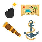 Treasures pirate adventures toy accessories icons vector set