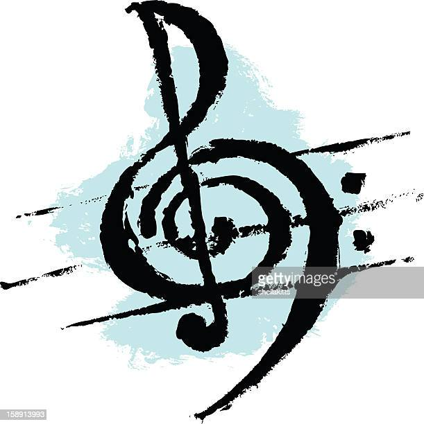 treble and bass clef - treble clef stock illustrations, clip art, cartoons, & icons