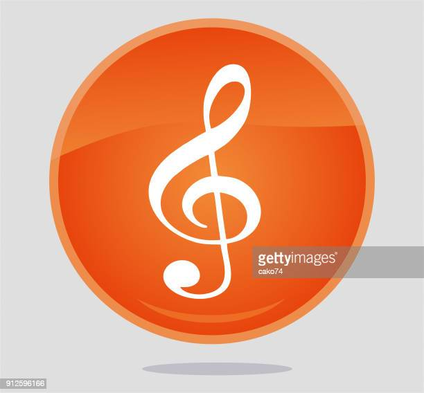 treble clef icon - treble clef stock illustrations, clip art, cartoons, & icons