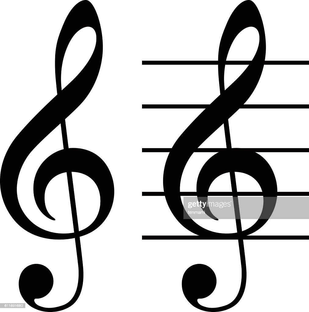 Treble clef (G clef)  / Simple and basic musical symbol.