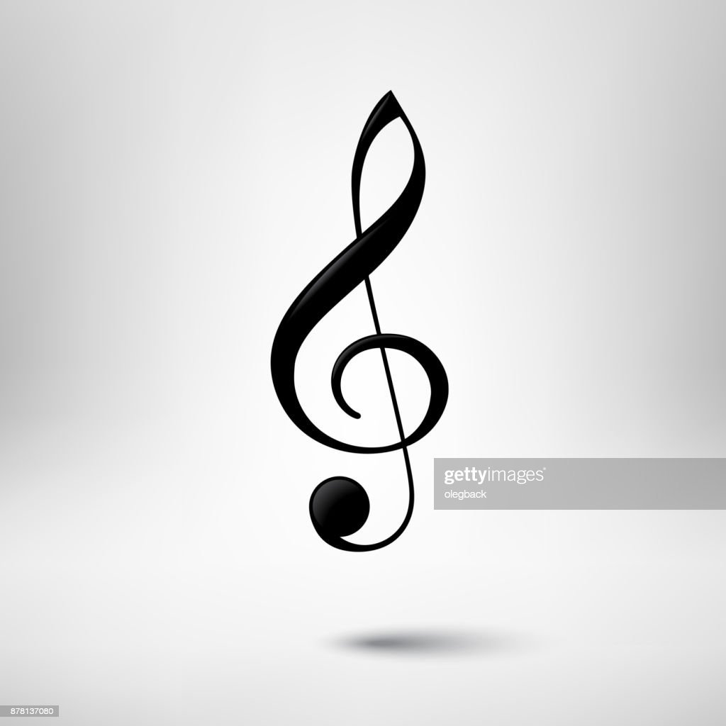 Treble clef vector icon. Music design element.