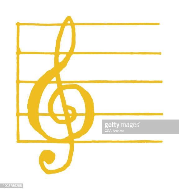treble clef - treble clef stock illustrations, clip art, cartoons, & icons