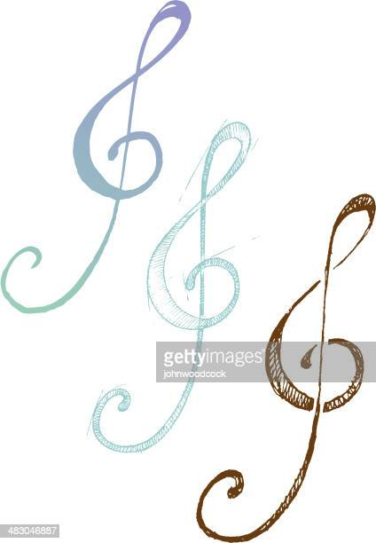 treble clef - treble clef stock illustrations, clip art, cartoons, & icons