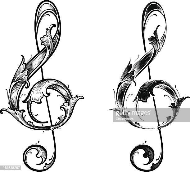 ilustrações, clipart, desenhos animados e ícones de tríplice coroa cleff conjunto - nota musical