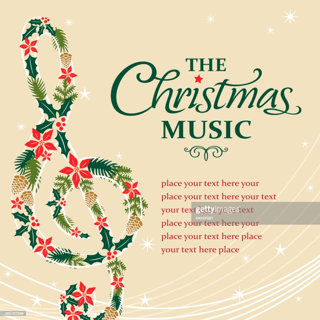 Treble musical notes shape form christmas floral : stock illustration