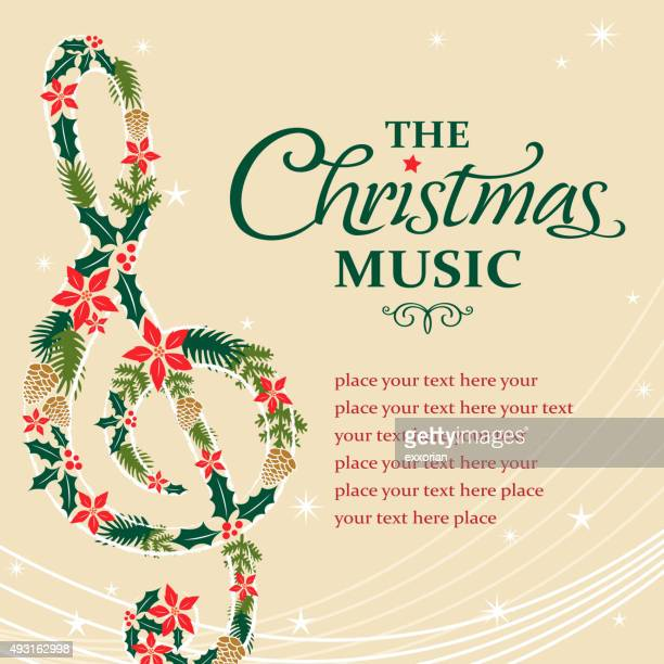 treble musical notes shape form christmas floral - treble clef stock illustrations, clip art, cartoons, & icons