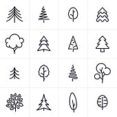 Tree and Evergreen Icons and Symbols