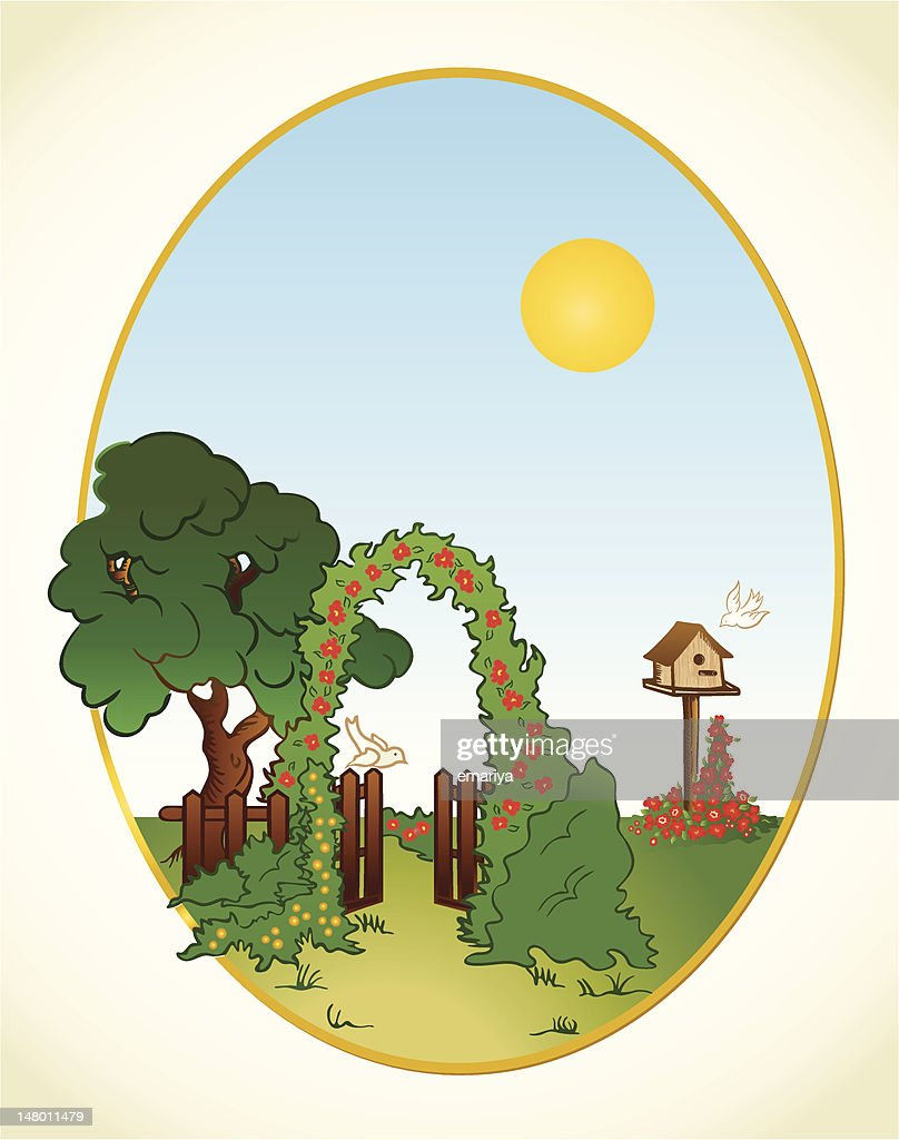 Tree and flower background with fence. Vector
