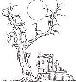 tree and ruin castle