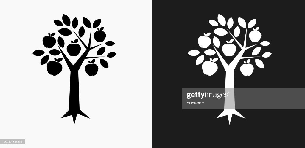Tree Apple Icon on Black and White Vector Backgrounds