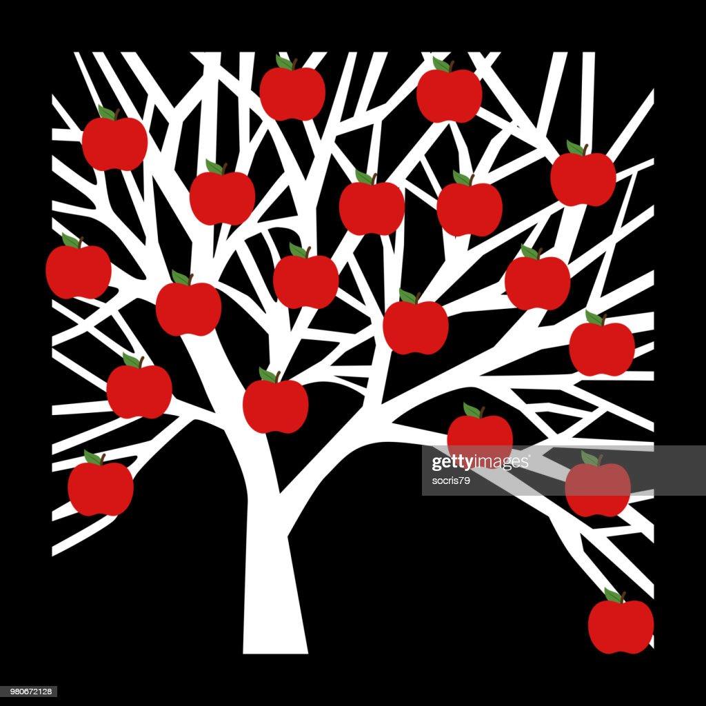 Tree apple icon on black background