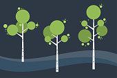 Tree birch in springtime, summer. Night landscape. Vector stylized.