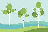 Tree birch in springtime, summer. Vector stylized.