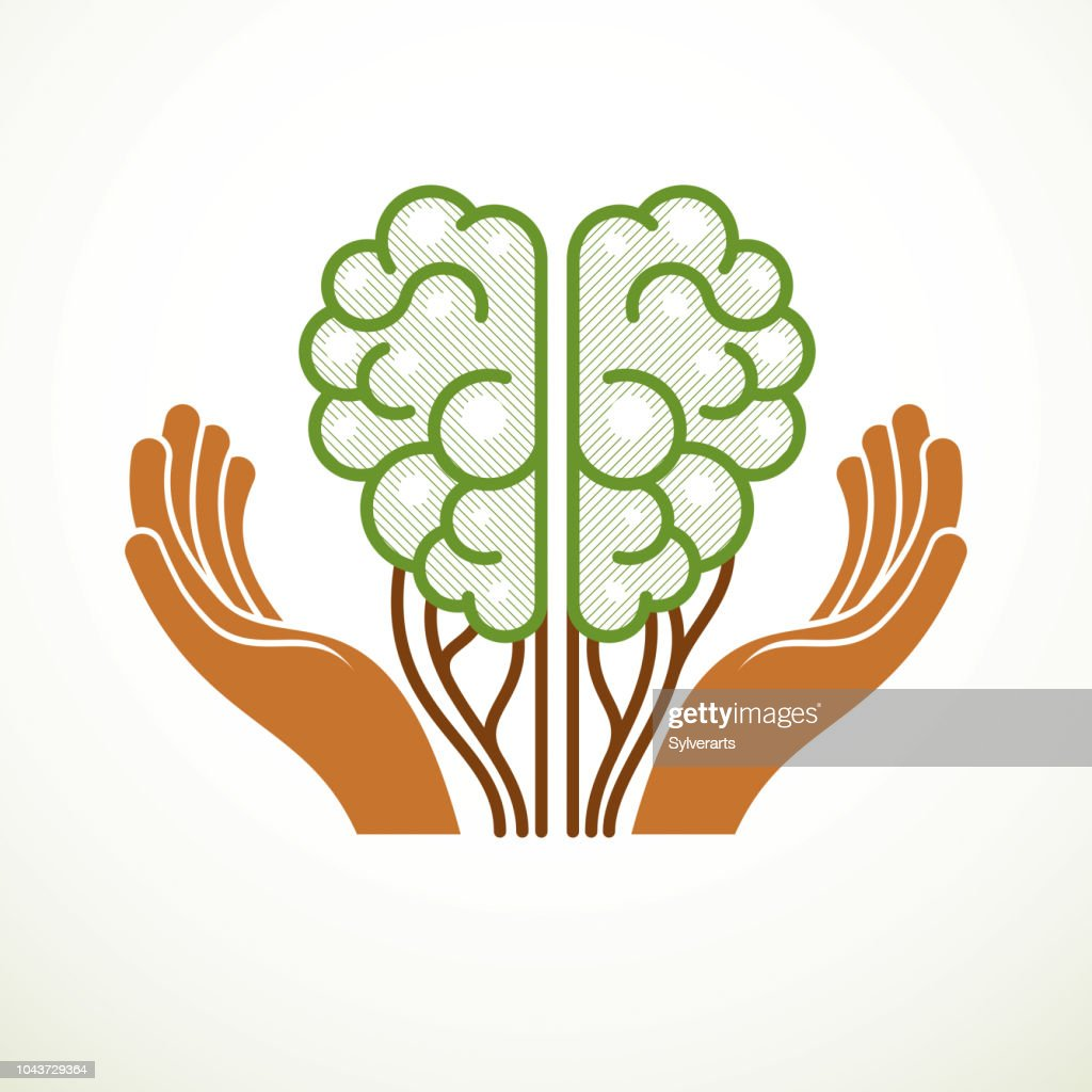 Tree Brain concept, the wisdom of nature, intelligent evolution. Human anatomical brain in a shape of green tree with tender careful hands. Vector icon design.