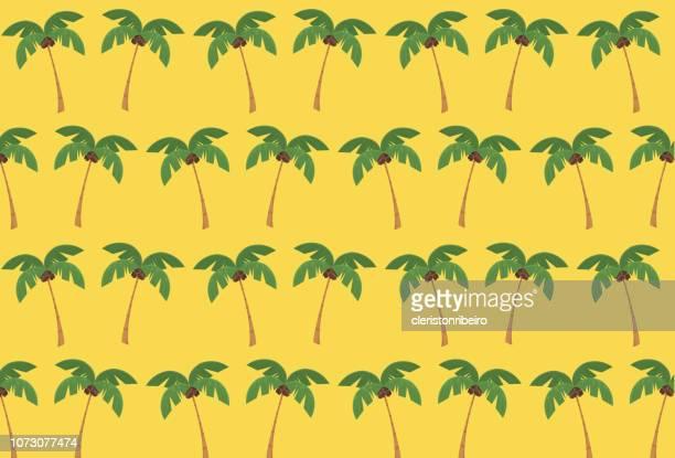 tree coconut pattern (template) - coconut palm tree stock illustrations, clip art, cartoons, & icons