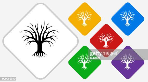 tree color diamond vector icon - plant attribute stock illustrations, clip art, cartoons, & icons