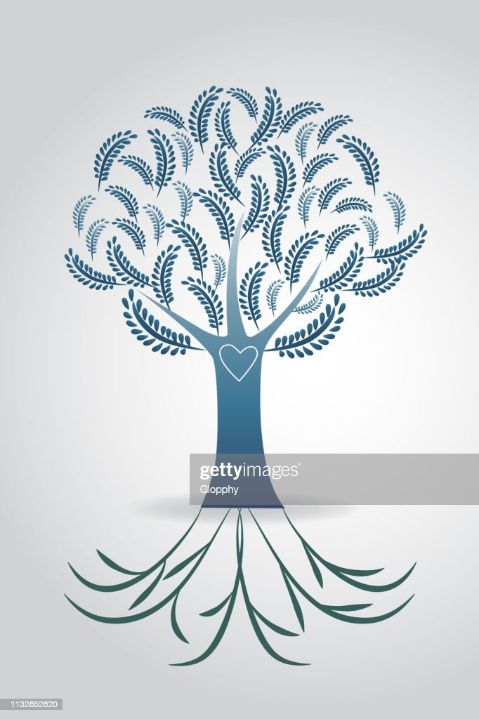 Tree ecology symbol floral wedding vector design template