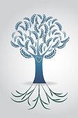 Tree ecology symbol floral wedding vector design template