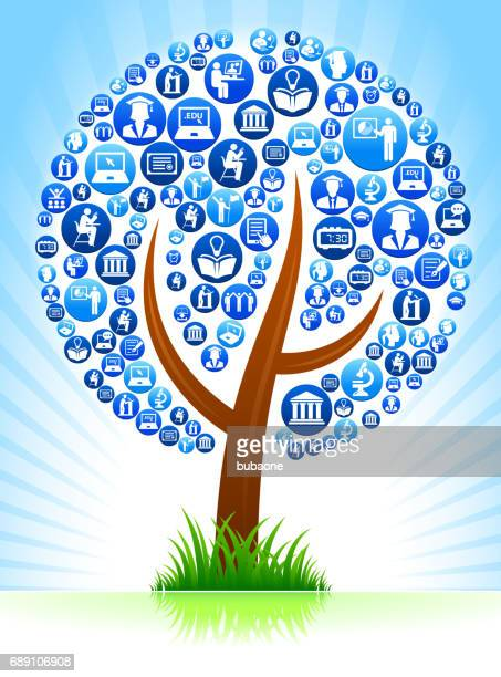 Tree E-learning and College Education Blue Button Pattern