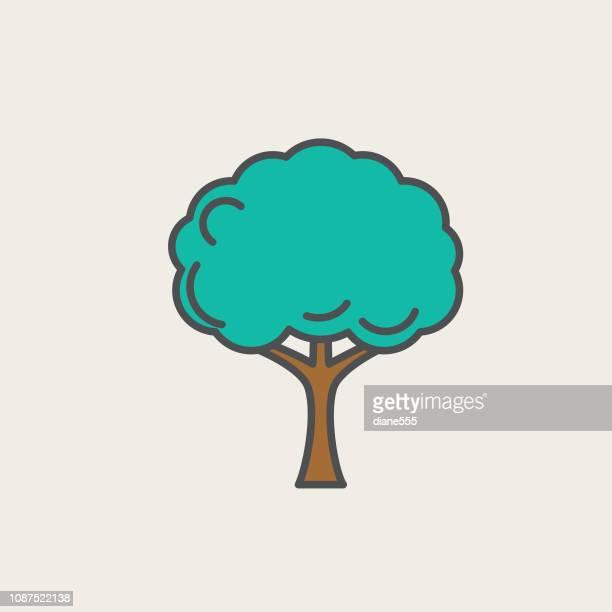 illustrazioni stock, clip art, cartoni animati e icone di tendenza di tree environment thin line icon - albero