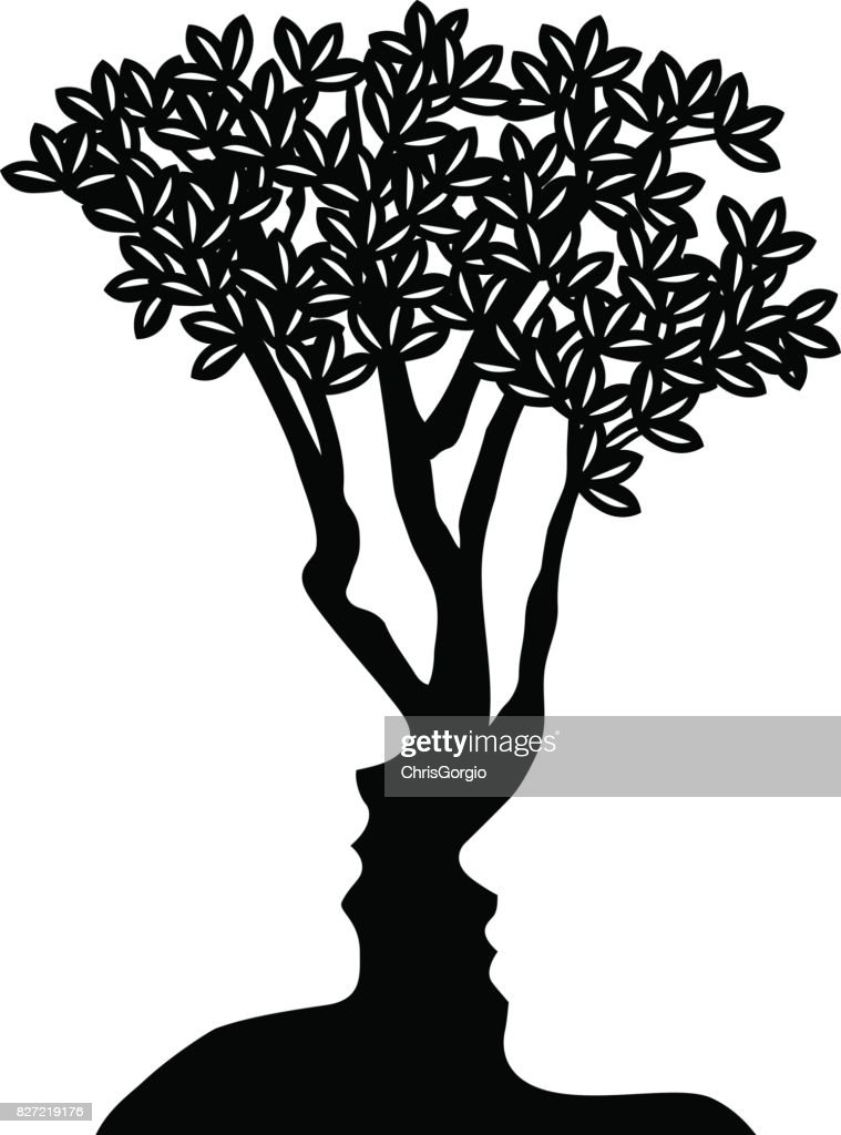 Tree Faces Optical Illusion Concept