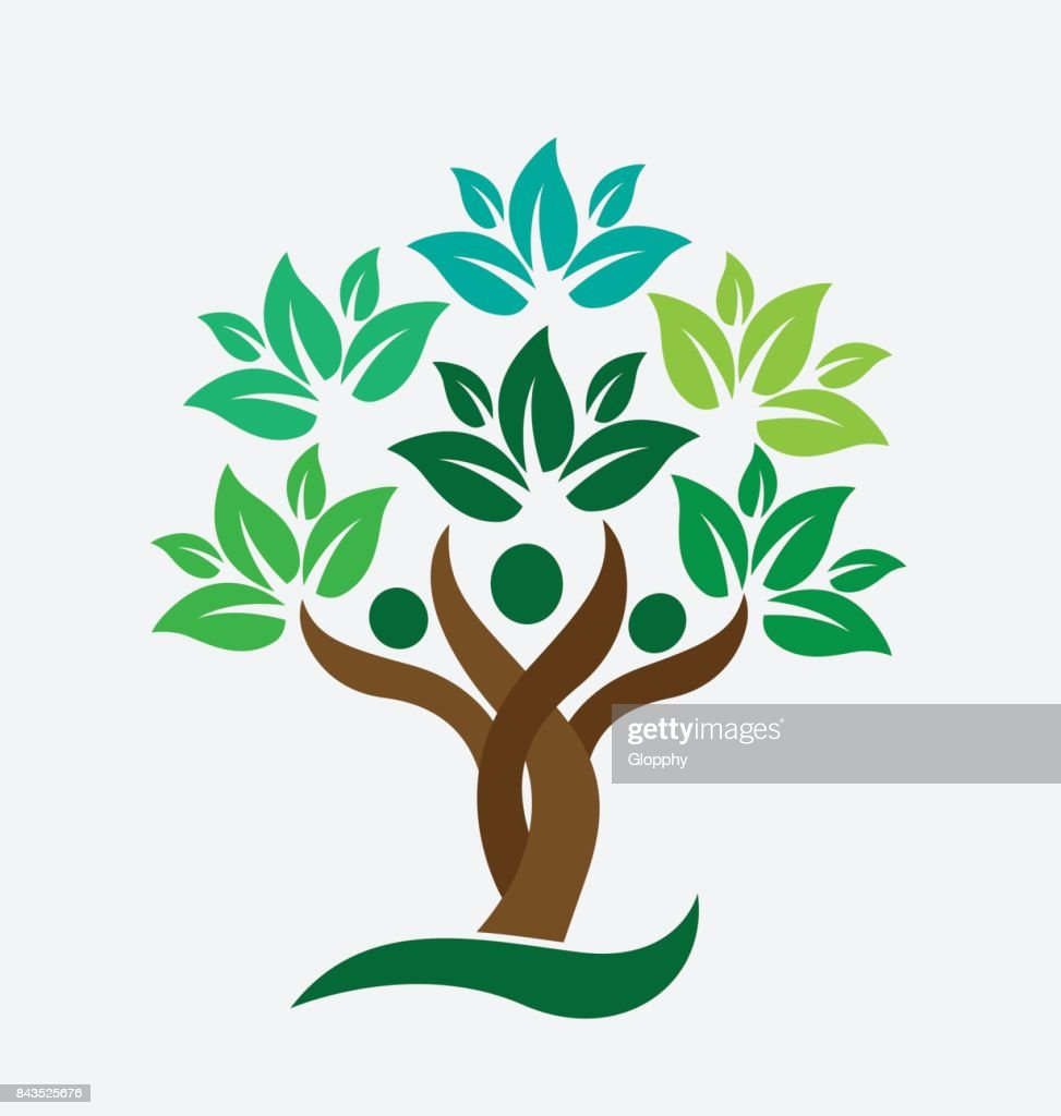 Tree family people green leafs . Ecology concept icon vector design