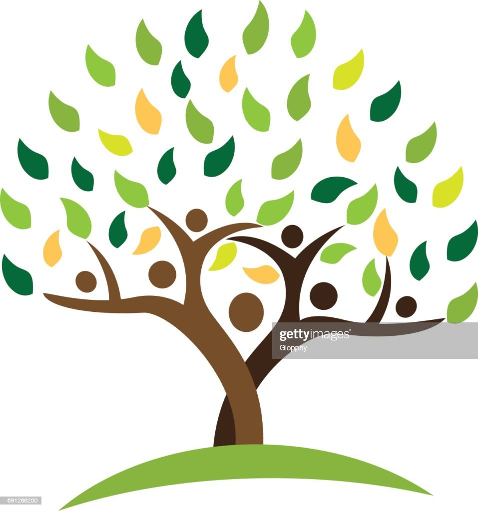 tree family people green leafs . Ecology concept vector design