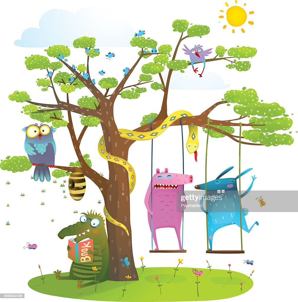 Tree friends animals birds monsters bees in sunny summer nature