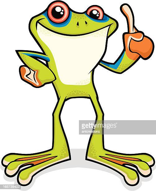 tree frog making a point - webbed foot stock illustrations, clip art, cartoons, & icons