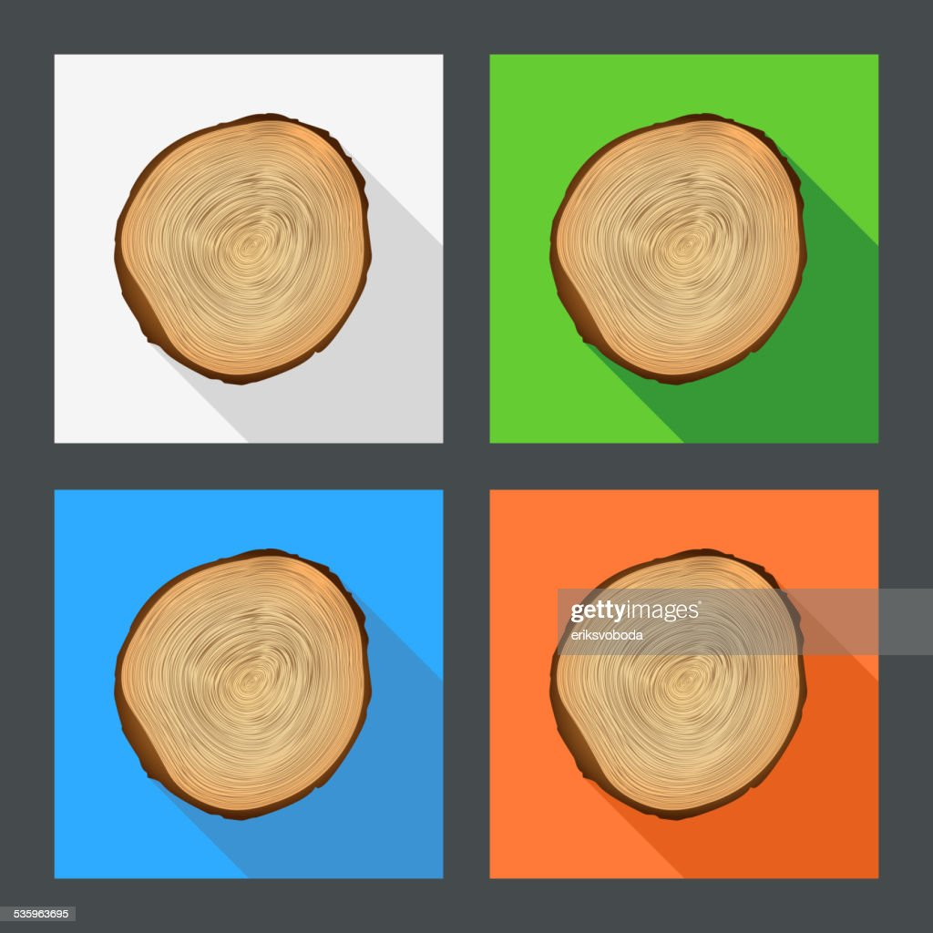Tree growth rings flat icons. : Vector Art