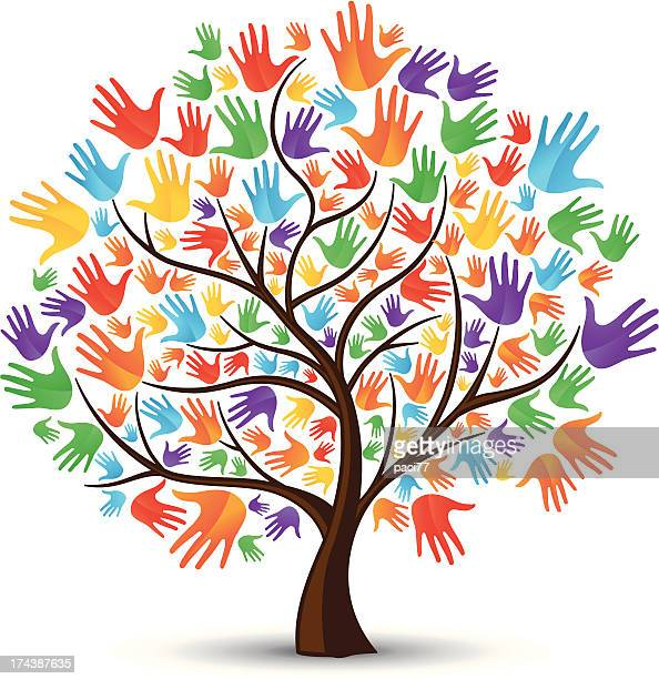 tree hands coloured - tree stock illustrations