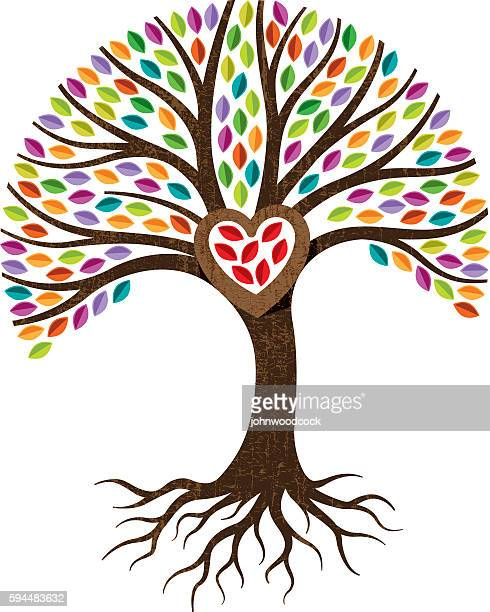 tree heart roots illustration. - root stock-grafiken, -clipart, -cartoons und -symbole