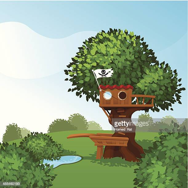 tree house - pirate style - country club stock illustrations, clip art, cartoons, & icons