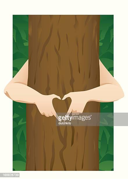 tree hugger - tree bark stock illustrations, clip art, cartoons, & icons
