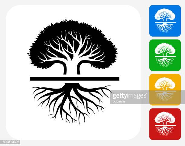 tree icon flat graphic design - root stock illustrations, clip art, cartoons, & icons