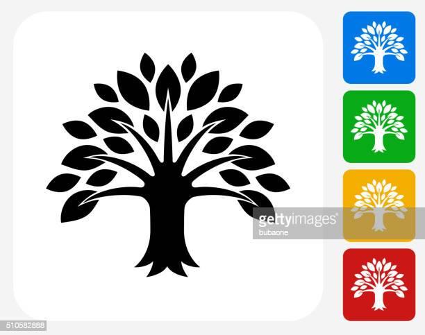 tree icon flat graphic design - ancestry stock illustrations, clip art, cartoons, & icons