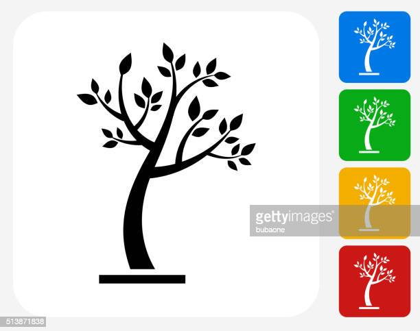 tree icon flat graphic design - tree trunk stock illustrations, clip art, cartoons, & icons