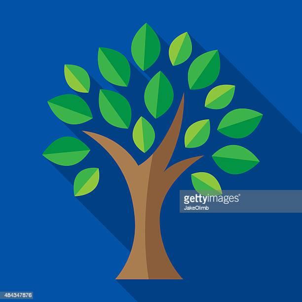 tree icon flat - family tree stock illustrations, clip art, cartoons, & icons