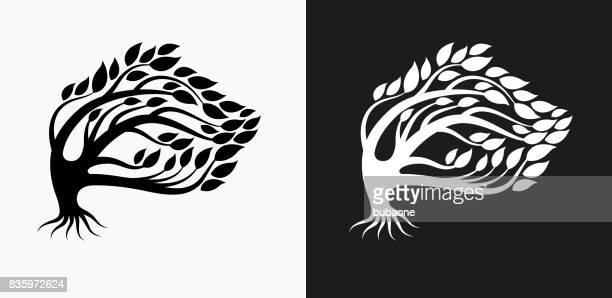 ilustraciones, imágenes clip art, dibujos animados e iconos de stock de icono de árbol en blanco y negro vector fondos - social grace