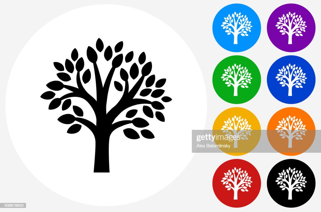 Tree Icon on Flat Color Circle Buttons