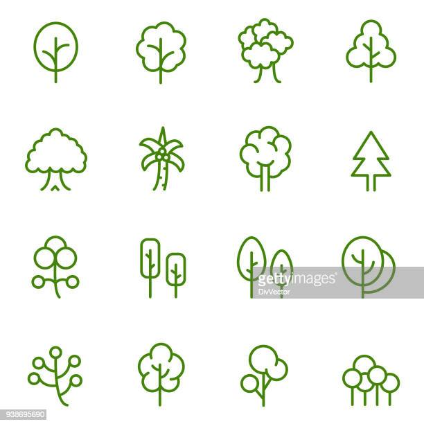 tree icon set - tree stock illustrations