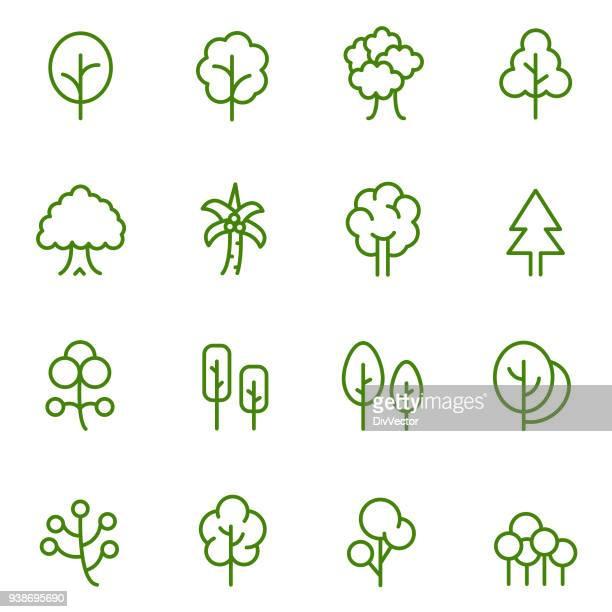ilustraciones, imágenes clip art, dibujos animados e iconos de stock de conjunto de iconos de árbol - árbol