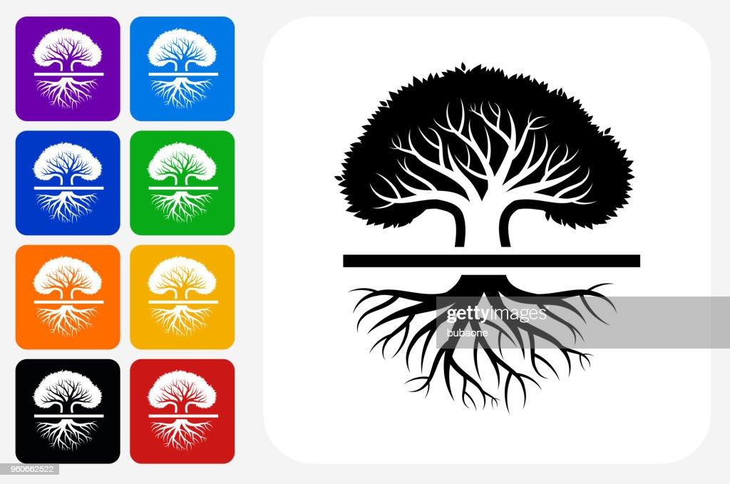 Tree Icon Square Button Set : stock illustration