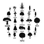 Tree icons set, simple style