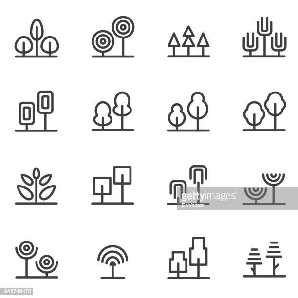 tree icons - coniferous tree stock illustrations, clip art, cartoons, & icons
