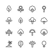 Tree Line Icons. Editable Stroke. Pixel Perfect. For Mobile and Web. Contains such icons as Tree, Forest, Nature, Outdoors, Environment, Ecology.