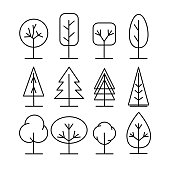 Tree line icons set. Simple thin style vector illustrations collection.