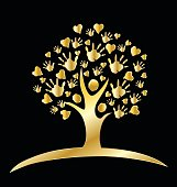 Tree love family hands gold logo
