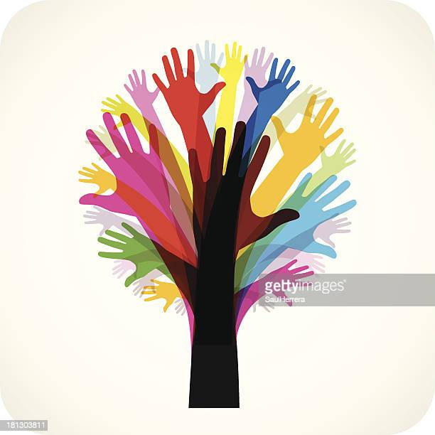 tree made of hands - symbols of peace stock illustrations