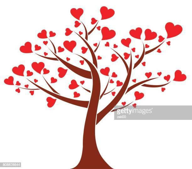 tree of hearts - tree trunk stock illustrations, clip art, cartoons, & icons